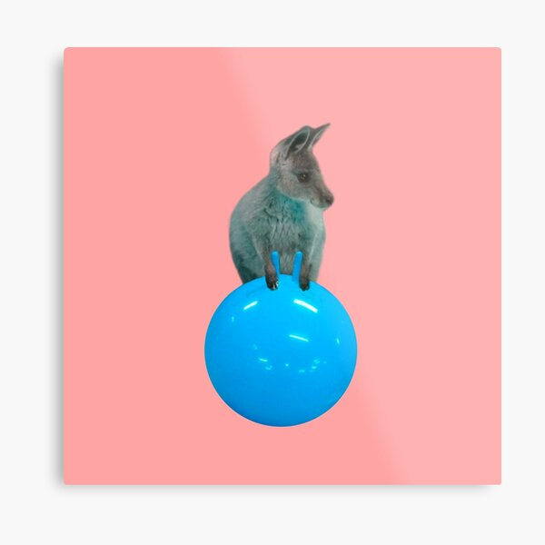 Cute kangaroo with a bouncy jumping hopping ball by Alice Monber Metal Print