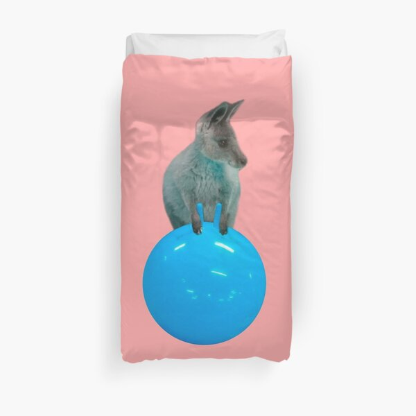 Cute kangaroo with a bouncy jumping hopping ball by Alice Monber Duvet Cover