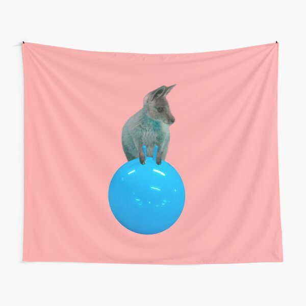 Cute kangaroo with a bouncy jumping hopping ball by Alice Monber Tapestry