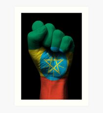 Flag of Ethiopia on a Raised Clenched Fist  Art Print