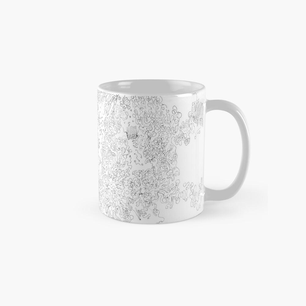 Polymer crystallization, pen and ink on paper Mug