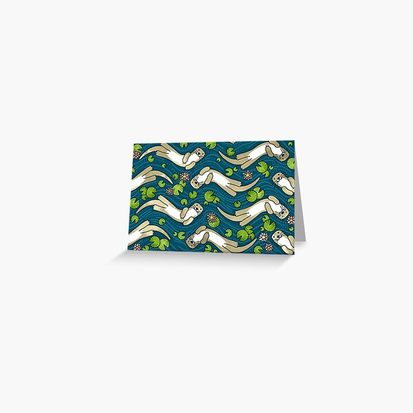 Otter and Water Lily | Cute Animal Pattern Greeting Card