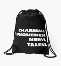 Charisma, Einzigartigkeit, Nerv und Talent. Turnbeutel