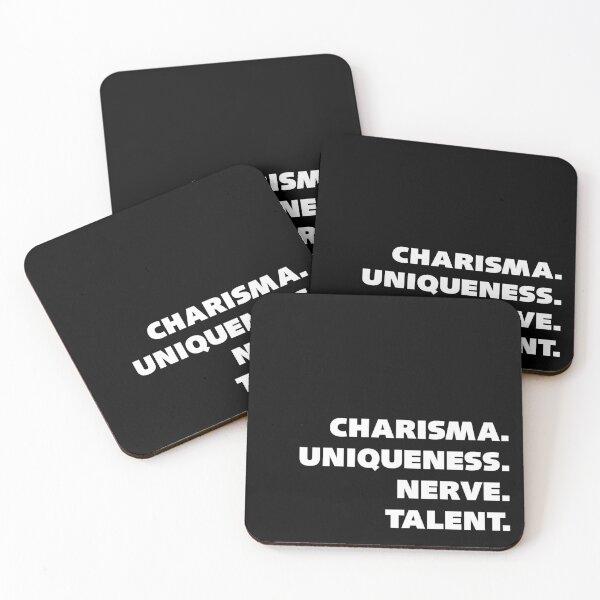 Charisma, Uniqueness, Nerve, and Talent. Coasters (Set of 4)