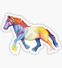 Aquarell-Pferd, Shire-Hengst im Regenbogen Sticker