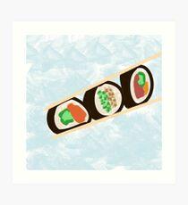Sushi Rolls mit Stäbchen Kunstdruck