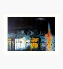 Lac ( Lake )  Bromont  Quebec  Nightscape            ( My Paintings )  Art Print