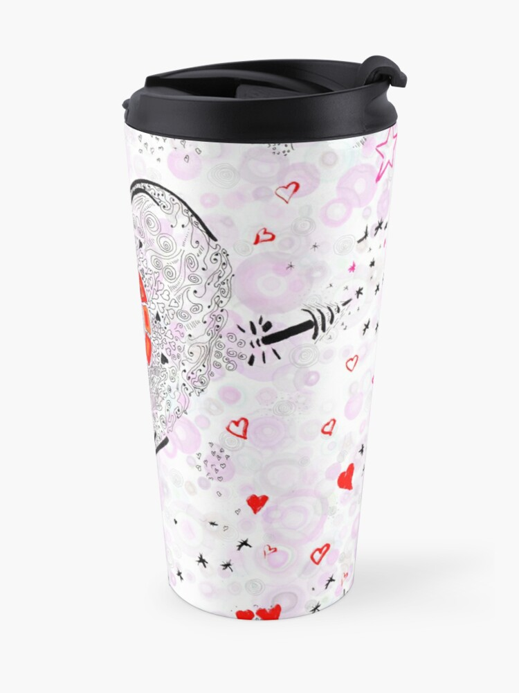 Alternate view of Heart overflowing valentines clothing and decor tile pattern 1 Travel Mug