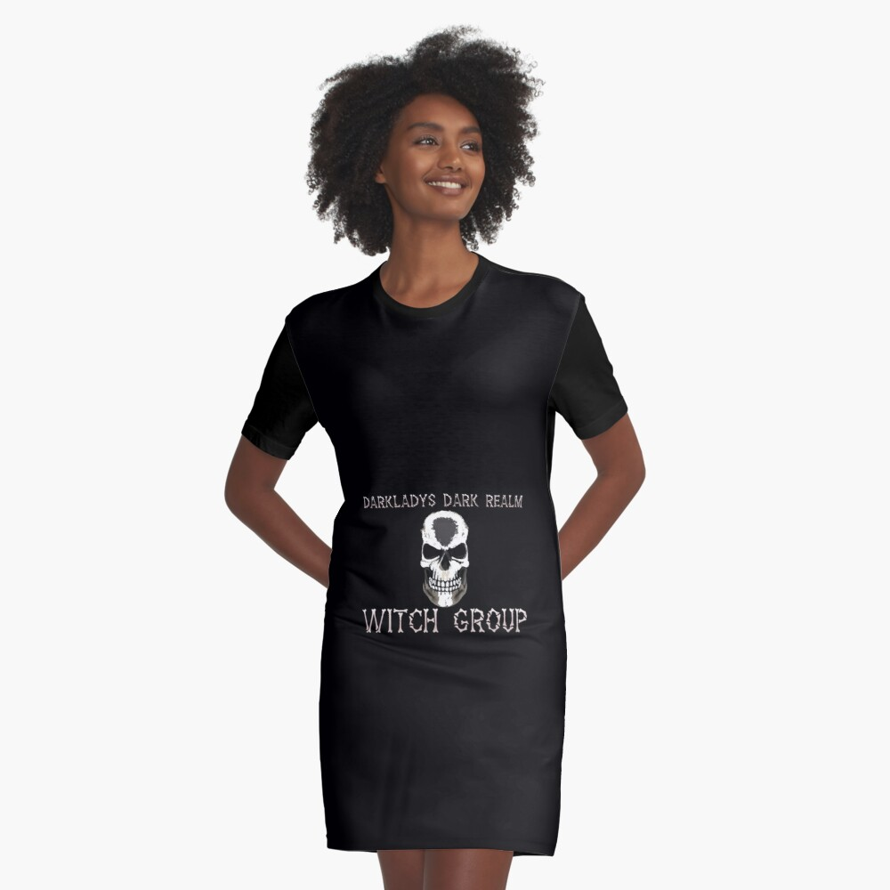 Darkladys Dark Realm Witch Group with White words Graphic T-Shirt Dress Front