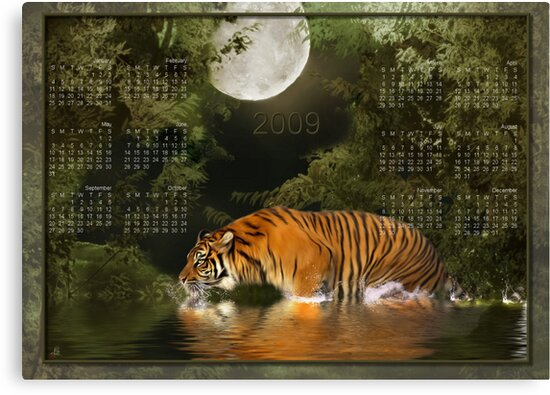 Bengal Tiger (2) - Month at a Glance 2009 calendar by Lisa  Weber