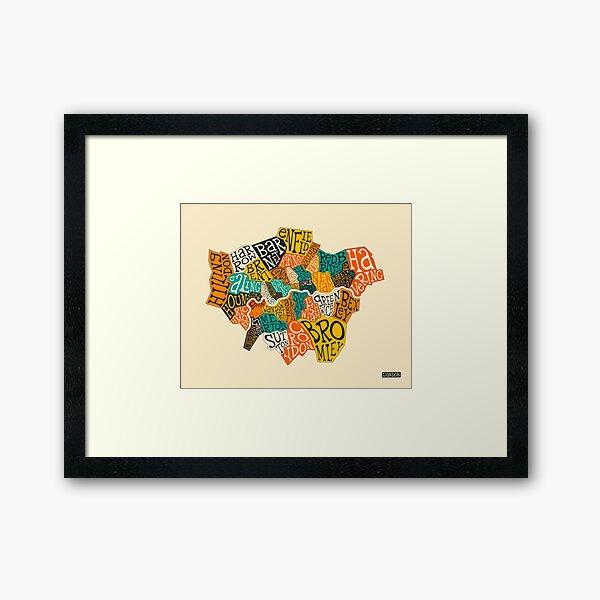 LONDON BOROUGHS MAP Framed Art Print