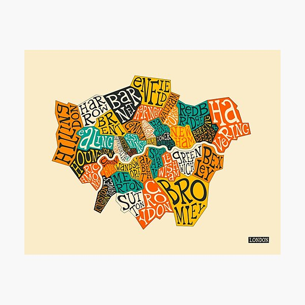 LONDON BOROUGHS MAP Photographic Print