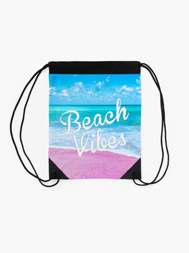 Alternate view of Pink Beach Vibes Drawstring Bag