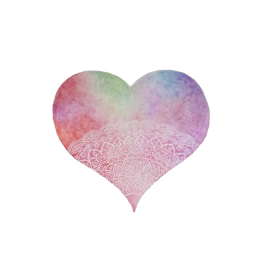 Weiße Tinten-Aquarell-Herz-Mandala von chailyn