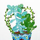Indian Pot with Succulents by marlene veronique holdsworth
