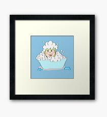 Baby-girl in foam  Framed Print