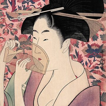 Japanese Woman Holding a Comb, Kushi by Kitagawa Utamaro by VintageArchive