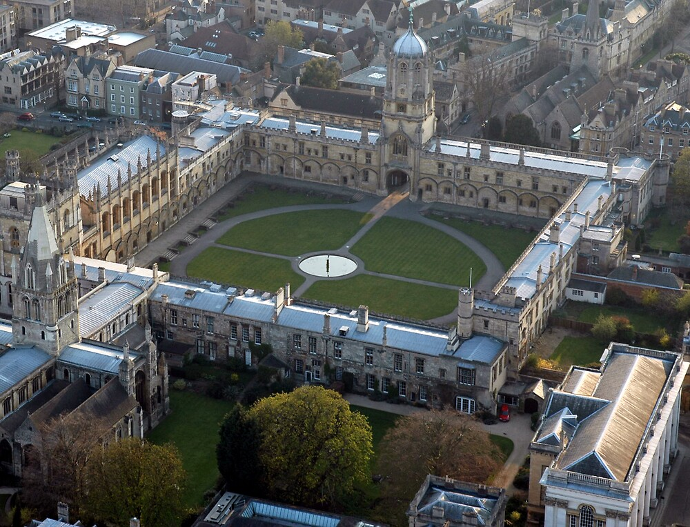 Christchurch College, Oxford from an air balloon by David Rowlands