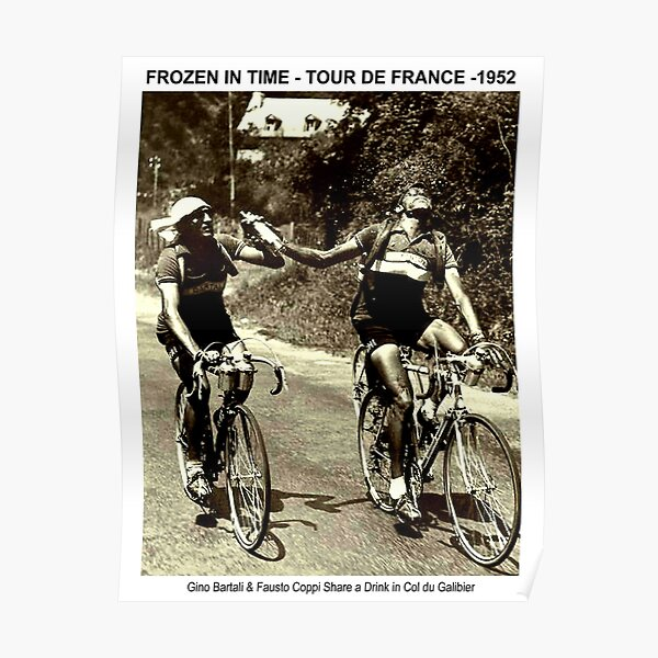 TOUR de FRANCE : Vintage 1952 Bartali and Coppi Print Poster