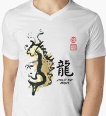 Year of DRAGON Painting Seal Animal Chinese Zodiac Men's V-Neck T-Shirt