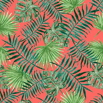 Tropical Palm Fronds and Ferns in Red by elephantbay