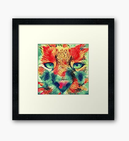 Artificial neural style wild cat Framed Print