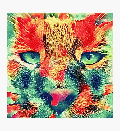 Artificial neural style wild cat Photographic Print