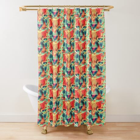 Artificial neural style wild cat Shower Curtain