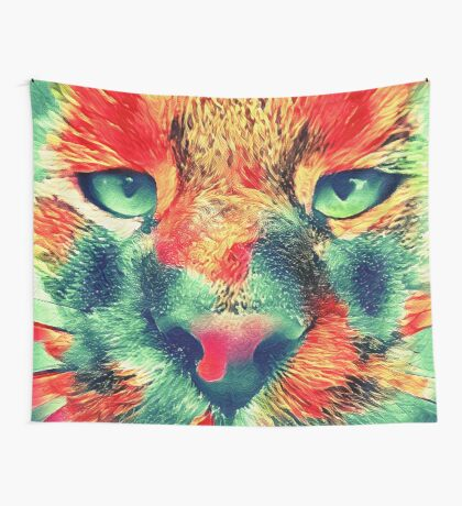 Artificial neural style wild cat Wall Tapestry