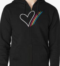 Heart Stripe - T-Shirt Zipped Hoodie