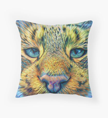 #DeepDreamed Cat v1449127170 Throw Pillow