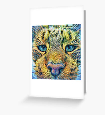 #DeepDreamed Cat v1449127170 Greeting Card