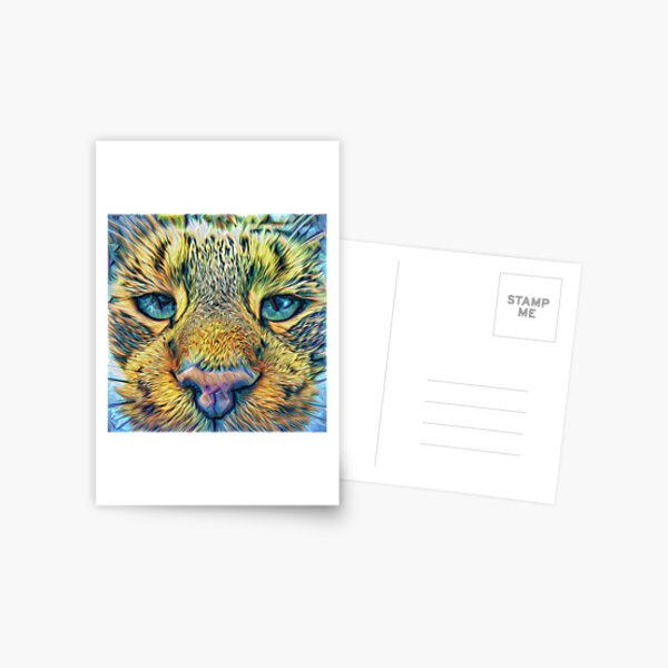 #DeepDreamed Cat Postcard