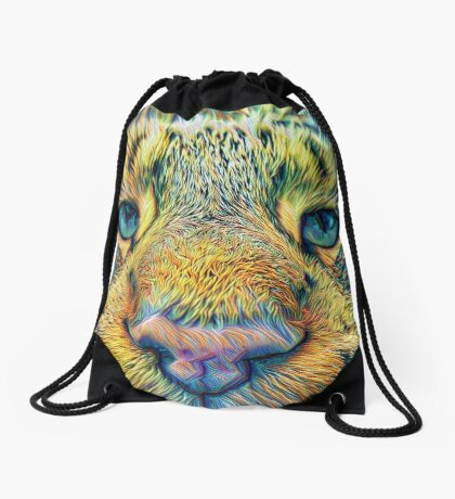 #DeepDreamed Cat v1449127170 Drawstring Bag
