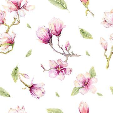 Watercolor Magnolias  by AKandCo