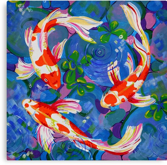 Koi acrylic koi fish painting canvas prints by eveiart for Koi fish canvas art