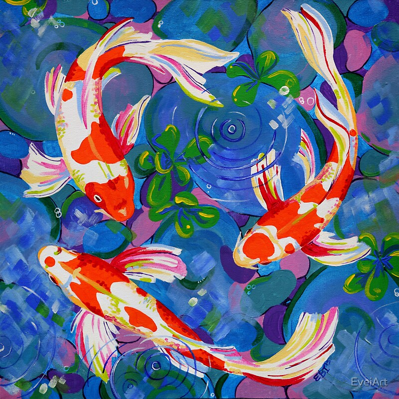Koi acrylic koi fish painting stickers by eveiart for Koi fish australia