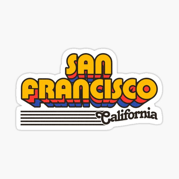 San Francisco, California   Retro Stripes Sticker