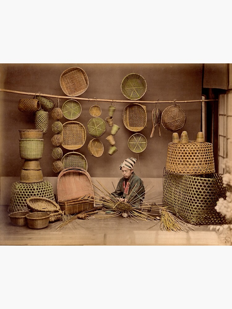 Basket weaver, Japan, 1870s by Fletchsan