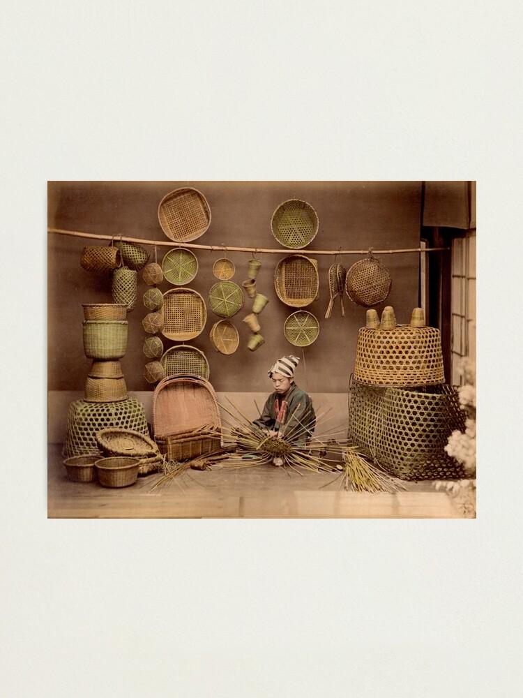 Alternate view of Basket weaver, Japan, 1870s Photographic Print