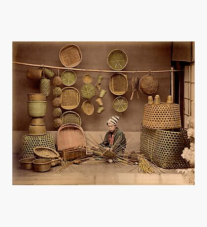 Basket weaver, Japan, 1870s Photographic Print