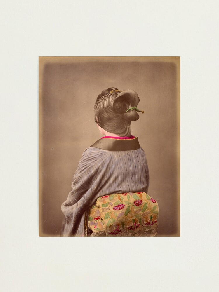 Alternate view of Japanese woman in Kimono from behind, 1890s Photographic Print