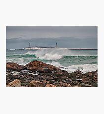 Green waves with twin lights Photographic Print