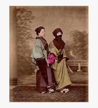 Japanese women in winter costume Photographic Print