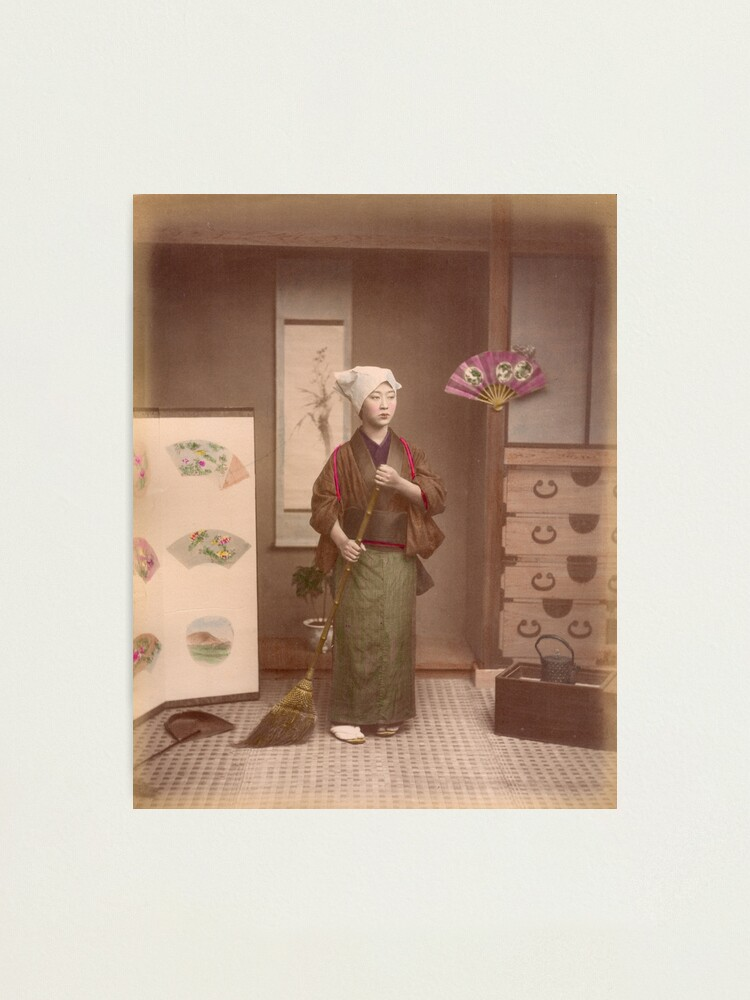 Alternate view of Japanese girl sweeping Photographic Print