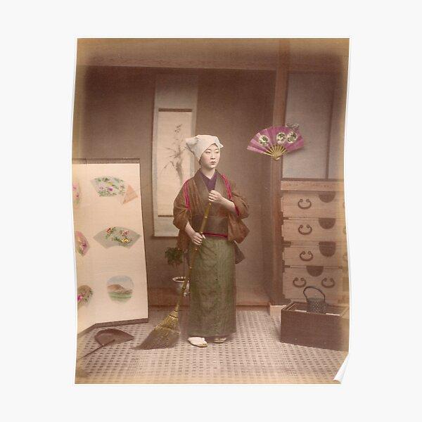 Japanese girl sweeping Poster