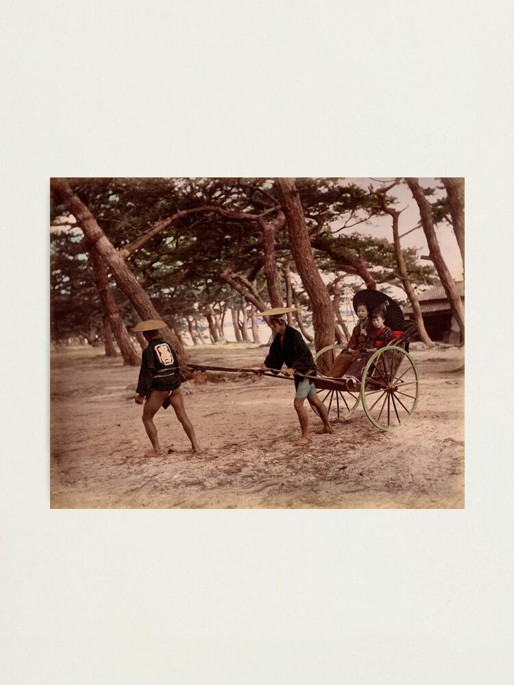 Alternate view of Jinrikisha - Meiji Japan Photographic Print