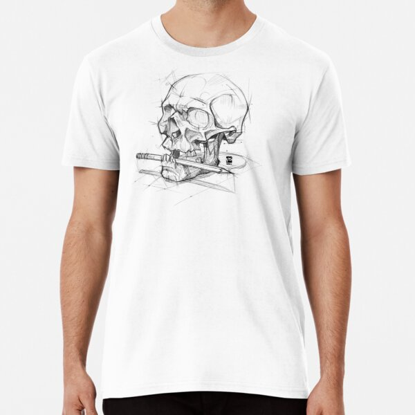 Skull + Pencil sketchy style psdelux Premium T-Shirt