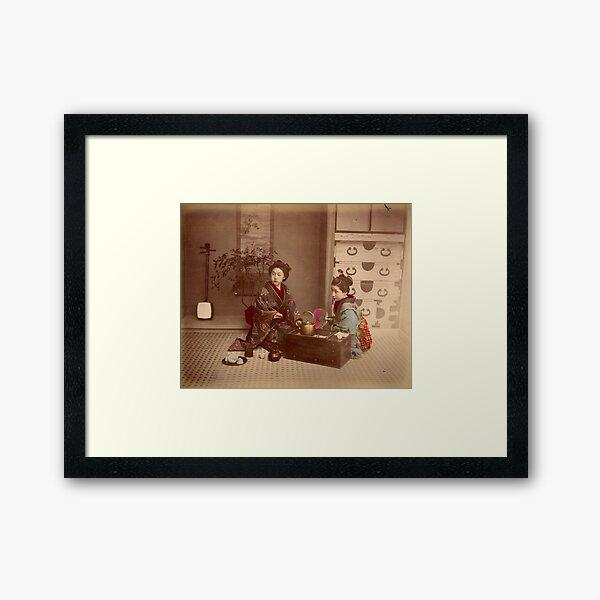 Japanese girls, meiji period, Japan Framed Art Print