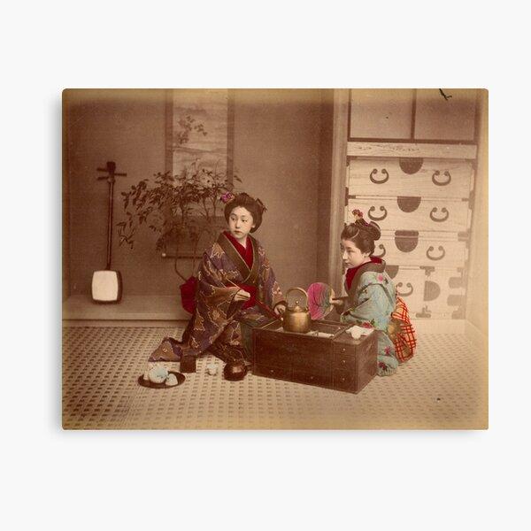 Japanese girls, meiji period, Japan Canvas Print